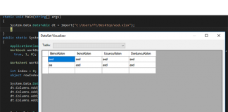 excel to datatable
